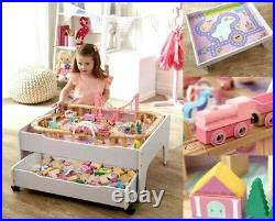 120 Piece Wooden Train Set Reversible City Table Pink Storage Drawer Damaged Box