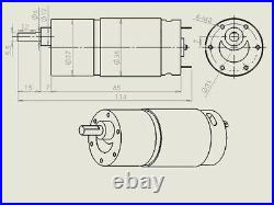 37GB555 Gear Reducer Motor Brushed Box Motors DC 12/24V 3-1000RPM Reversible