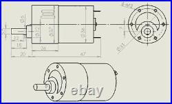 37GBRG Metal Gear Box Motor Eccentric Shaft Reducer Motors DC 12/24V 5-600RPM