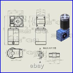 DC24V GW97140 Worm Gear Box Reducer Motor 11.5A 150W 20-270RPM Brush DC Motor