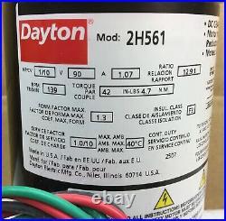 Dayton 2h561 Gear Motor 90vdc 1/10 HP 139 RPM 12.91 Ratio New In Box
